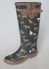 Good quality dog print ladies long rubber boots with buckle