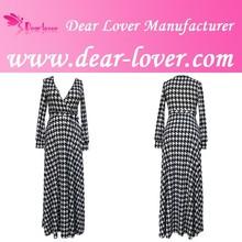 Fashion V Neck Long Sleeve Plover Print ladies winter dress