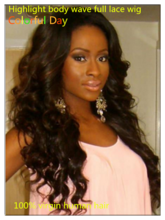 Stylish loves Colorful Day Highlight Virgin Body Wave Full Lace Wig