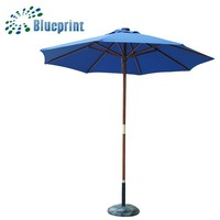 Blue Inventions Gift Wooden Large Solar Parasols Sun Shade Patio