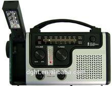 ABS plastic protable Siren flashlight solar dynamo radio mini solar generator