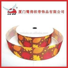 2015 maple leaf print polyester satin ribbon