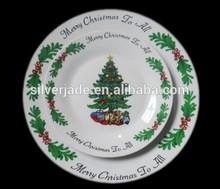christmas tree ceramic round flat plates