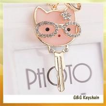 Creative Fashion Cartoon Cat with Rhinestone Key Ring Y4076