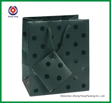 Small Black Polka Dot With Matt Finished Shopping Bags Paper Gift Bags