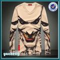 Diseño de moda esqueleto impreso t- shirt 3d imágenes para t- shirt manga larga 3d animales t camisa