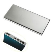 factory OEM ultra slim dual usb power bank aluminum silver purple black Blue