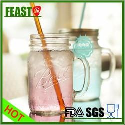 2015 New style mason jar mug Hot selling mason jar mug High borosilicate juice mason jar mug