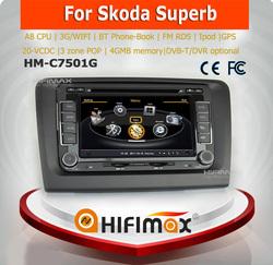 Hifimax car navigation FOR SKODA Superb WITH A8 CHIPSET DUAL CORE 1080P V-20 DISC WIFI 3G INTERNET DVR