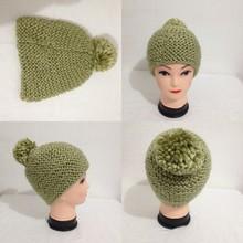 Light Green Warm Pom Pom Knitted Acrylic Soft Winter Crochet Beanie Hats Womens
