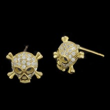 Golden Cute Skull Earrings Cross Bone Earrings