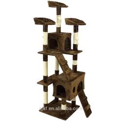 Anji Kaifeng factory hot sell Germany style plush and sisal Cat tree ,multi-level condo cat tree KF8027