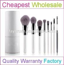 8pcs cheap white Professional makeup kit with nylon hair and brush holder