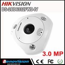 3MP Fisheye Camera 360 degree view angle DS-2CD6332FWD-IVS Hikvision original IP camera