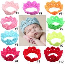 Wholesale cute handmade crochet baby headband crochet colorful crown hair band