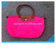 hot sale rose polyester satin foldable shopping bag