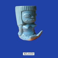 Unique Blue Fish Girl Customed Porcelain Tiki Mug