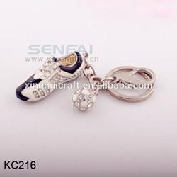 2015 china supplier new product hot sale zinc alloy rhinestone black and white enamel mini running shoe keychain with ball