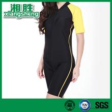 Comfortable Waterproof Black and Yellow Jumpsuits Neoprene Slimming Suit Women