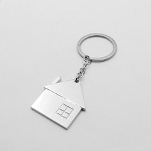 metal laser logo type custom shape and size house shaped keychain maker