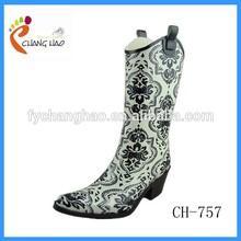 (CH-757~CH-762) High heel rubber gum boots fashion women western rain boots