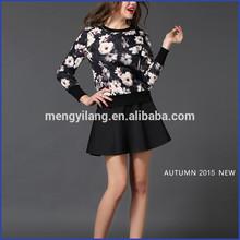 2014 latest elegant tops design o neck printed high fashion womens clothing