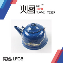 Glazed Enamelware Tea Pot with metal handle TC125