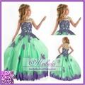 2015 nova chegada appliqued laço verde completa- comprimento vestido de baile vestido da menina flor