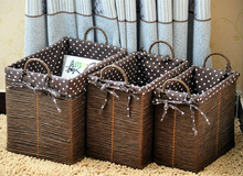 8 Hand Woven - pastoral style - straw - rattan - dirty laundry basket - Storage Basket - woven baskets