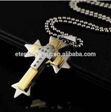 New Zinc alloy silver gold jewelry doubble Cross Shape Pendant Fashion jewelry accessories