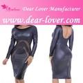 neuesten design voll sexy langarm schwarz mesh engen lederkleid