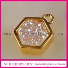Titanium druzy charm Hexagon pendant natual stone pendant