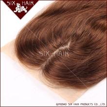 Most popular 5A grade minddle part grey hair top closure