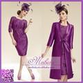 la madre de la novia vestido vintage de color púrpura de la rodilla longitud de manga larga de encaje vestido de noche