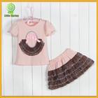 New Arrival Kids Short Dress Lace skirt , T-shirt And Skirt 2 Pcs Suit, Baby Girl Summer Dress Sexy School Girl Dress Wholesale