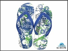 Natural men's blue flip flop for advertising