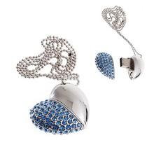 Jewelry Crystal Heart Shape USB Pendant Flash Memory Stick blue