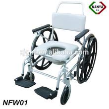 Heavy Duty Wheeled Commode Chair, Steel wheelchair
