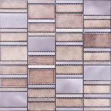 Aluminum Metal Mixed Marble& Glass Mosaic Indoor/Outdoor Wall Tile SF07
