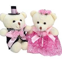Beautiful mini couple teddy bear for bouquet plush wedding bear