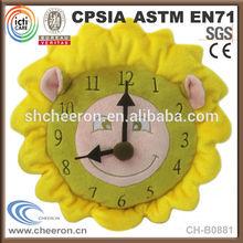 Clock shape cute plush baby cushion