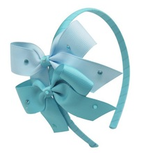 Cute blue diamond bow headband
