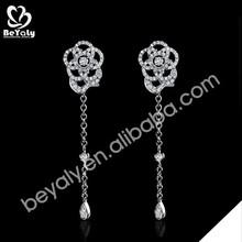 AAA cz set wholesale silver flower design hot sale eardrop
