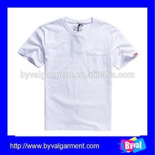 2015 new products of pocket tshirt wholesale OEM high quality cheap tshirt custom blank fit plain tshirt with pocket