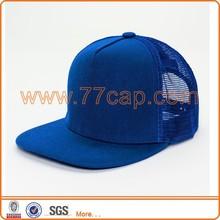 Promotional plain dyed trucker navy blue mesh cap