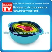 8 Piece Multicolor Food Prep Set Nesting Mixing Bowl Measuring Cup