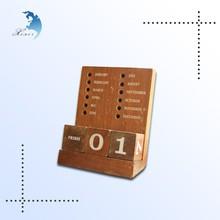 Office decoration gift dark brown logo printed wooden tabletop calendar