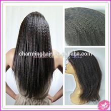 Malaysian Hair Kinky Straight Wig Baby Hair Bleached Knots Human Hair Wigs Virgin Malaysian Kinky Straight Full Lace Wig