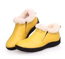 Sheepskin Fur Lined Warm Winter Leather Woman Shoe