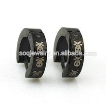Wholesale Stainless Steel Clip-on Black Skull Earring for Women & Men Fashion Jewelry